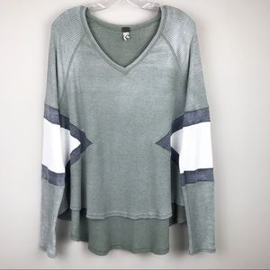 We The Free Hi-Lo Thermal Long Sleeve Top Green M